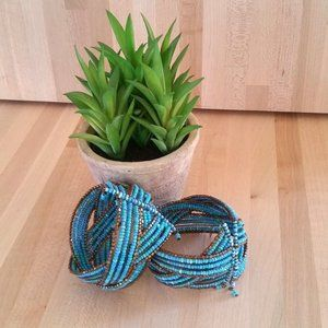 Expanding turquoise beaded cuff bracelets
